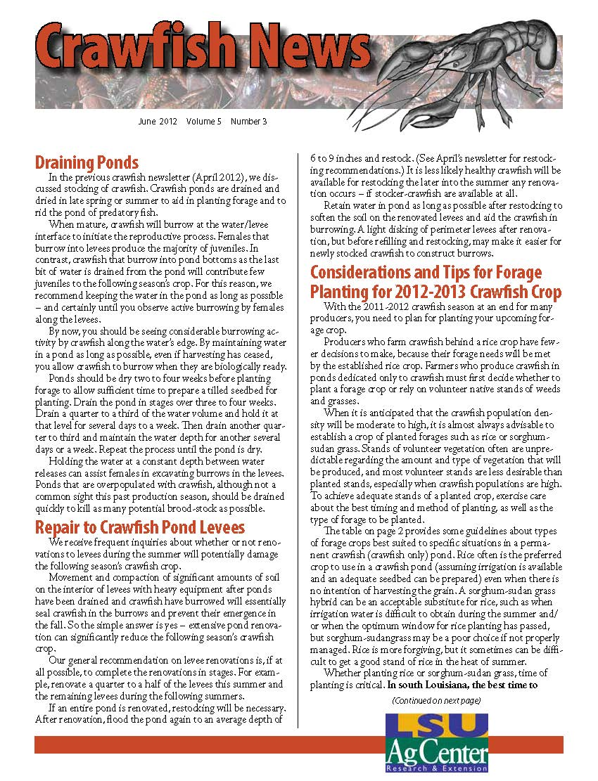 Crawfish News June 2012 (Vol 5, No 3)