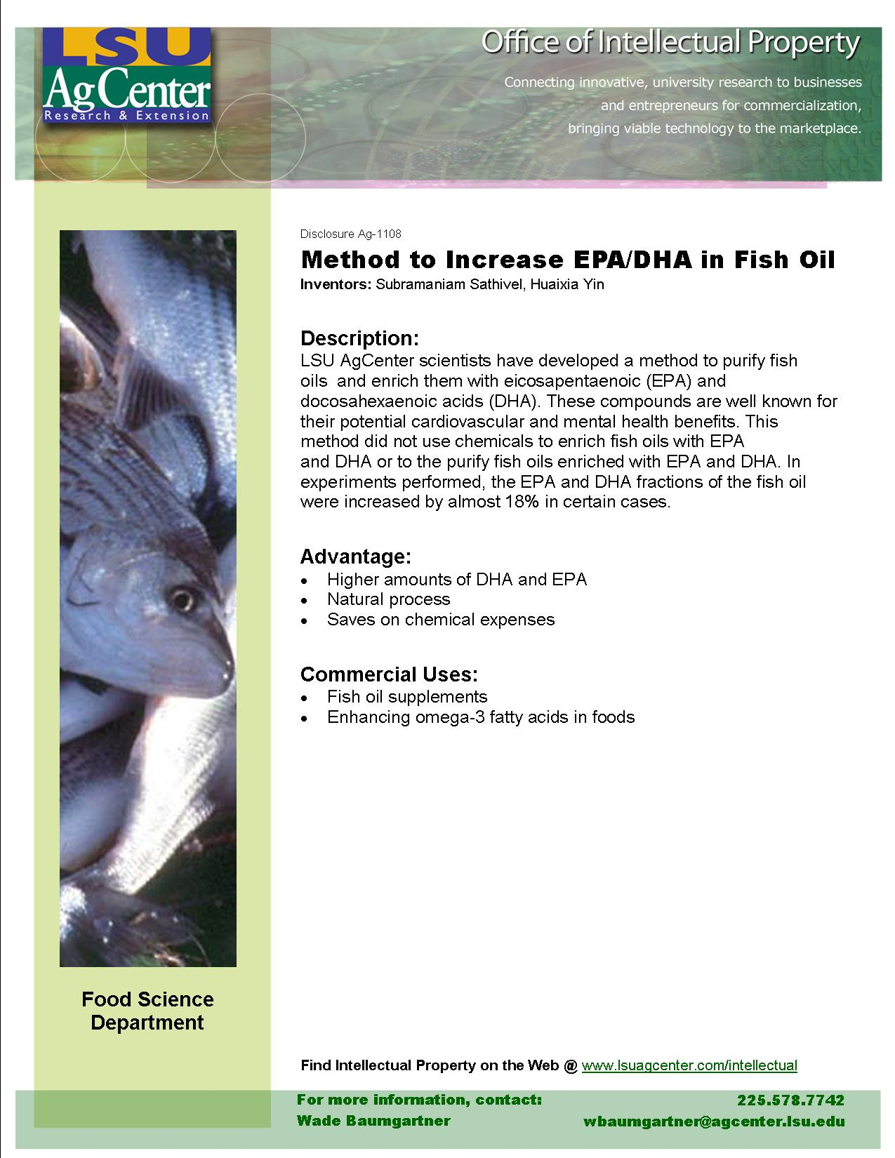 Method to Increase EPA/DHA in Fish Oil