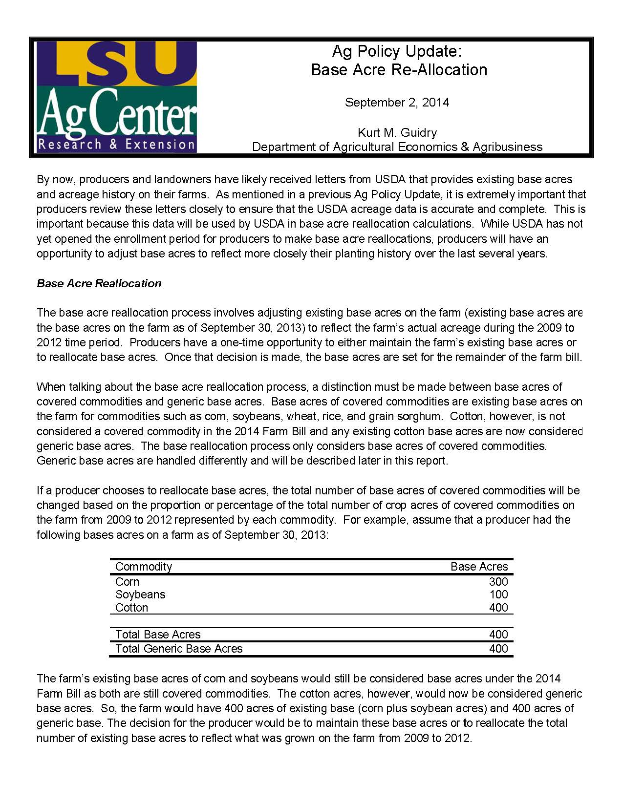 Ag Policy Update: Base Acre Reallocation