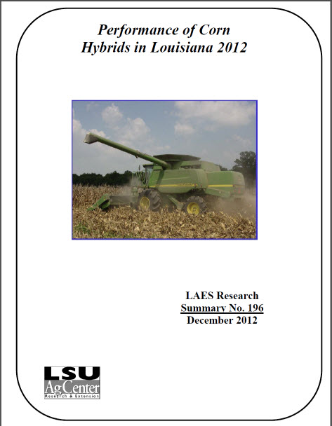 Performance of Corn Hybrids in Louisiana 2012
