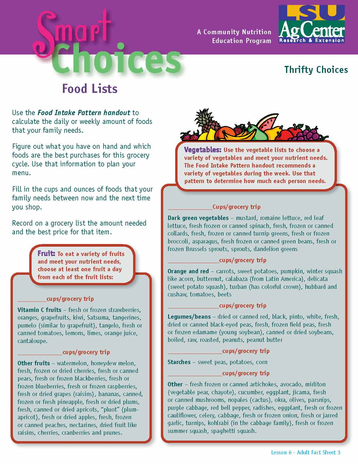 Smart Choices:  Food Lists