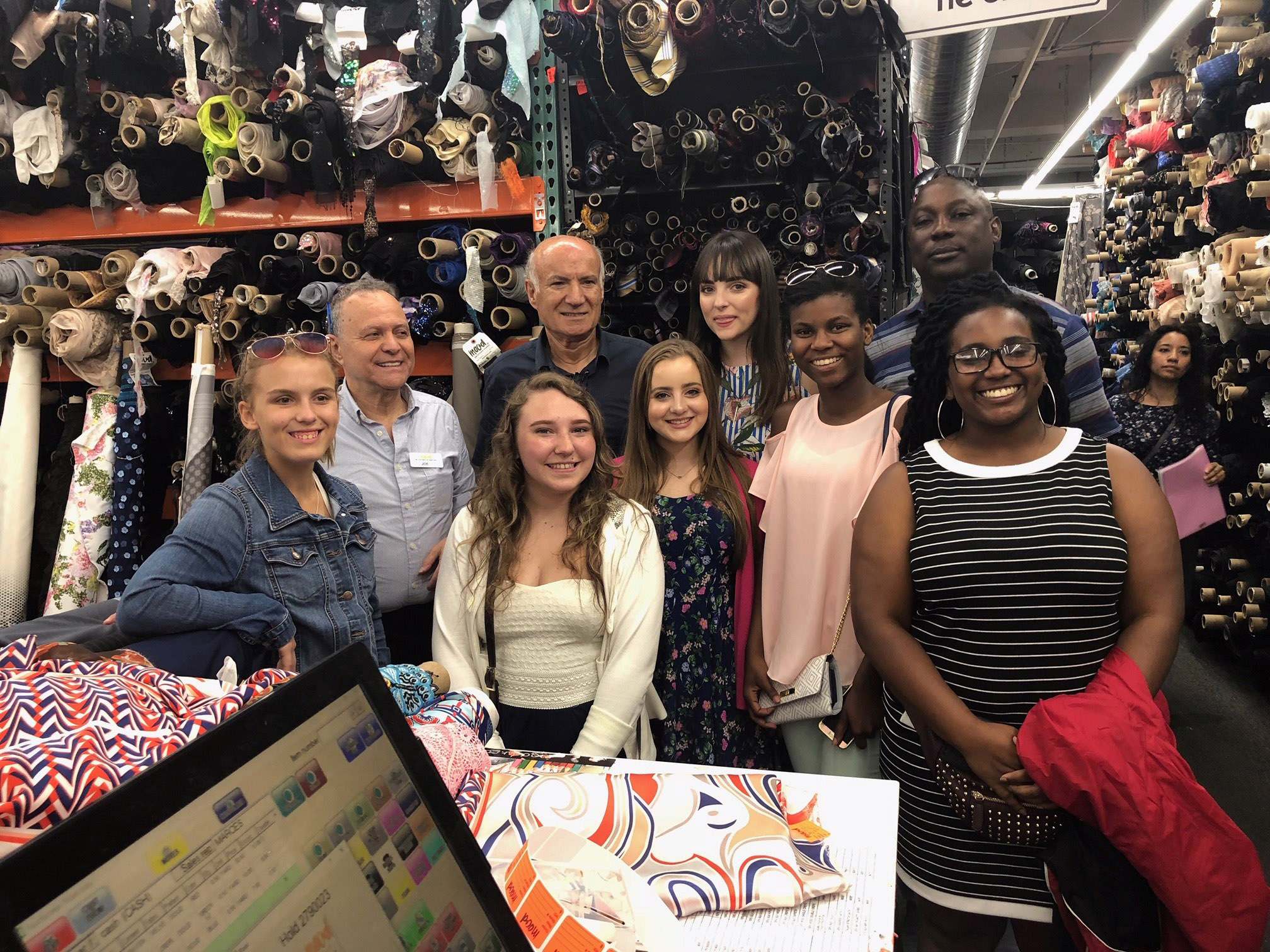 4-H fashion board members touring the Mood Fabrics store.