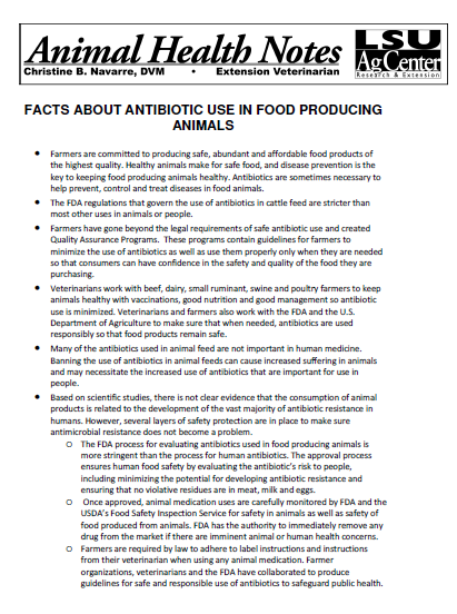 Facts About Antibiotic Use in Food Producing Animals