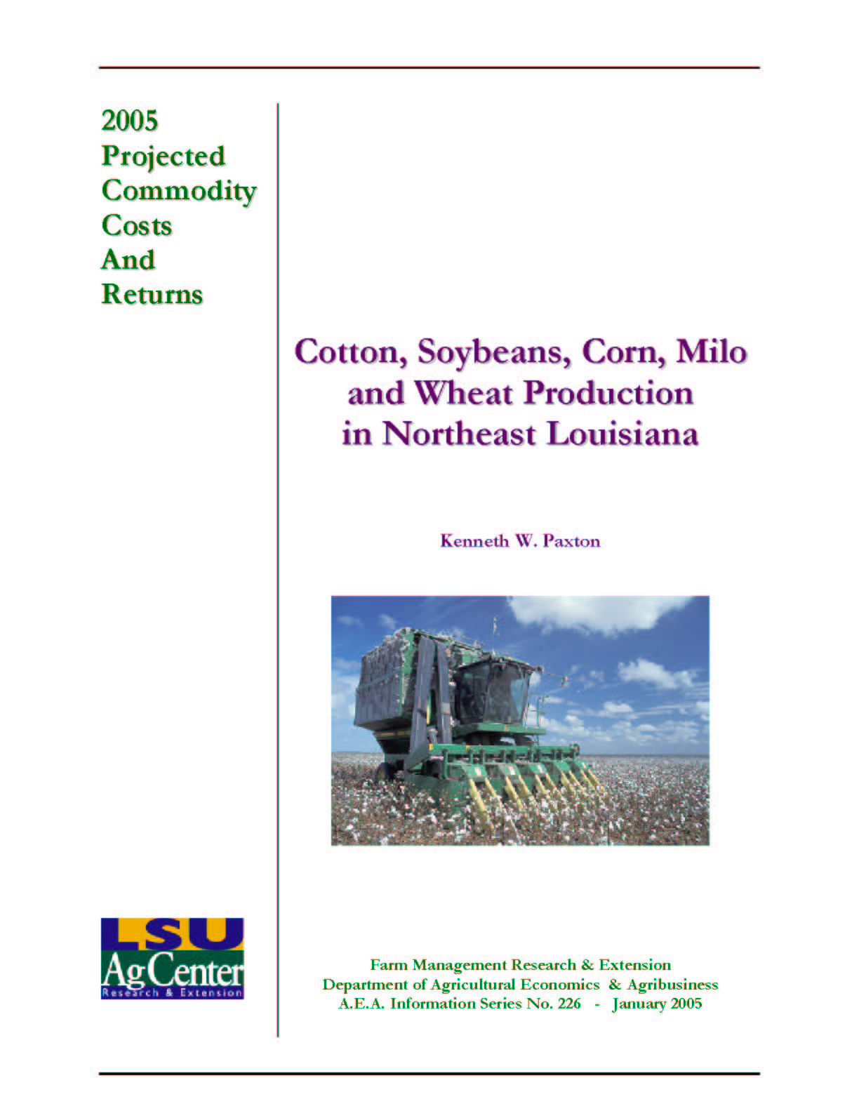 2005 Projected Northeast Louisiana Cotton Production Costs