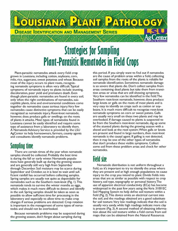 Louisiana Plant Pathology: Strategies for Sampling Plant-Parasitic Nematodes in Field Crops