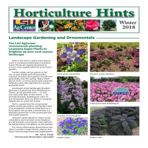 Horticulture Hints Winter 2018