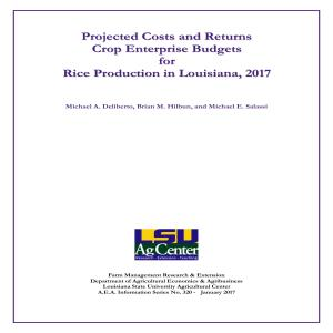 Projected Commodity Costs and Returns for Rice, 2017