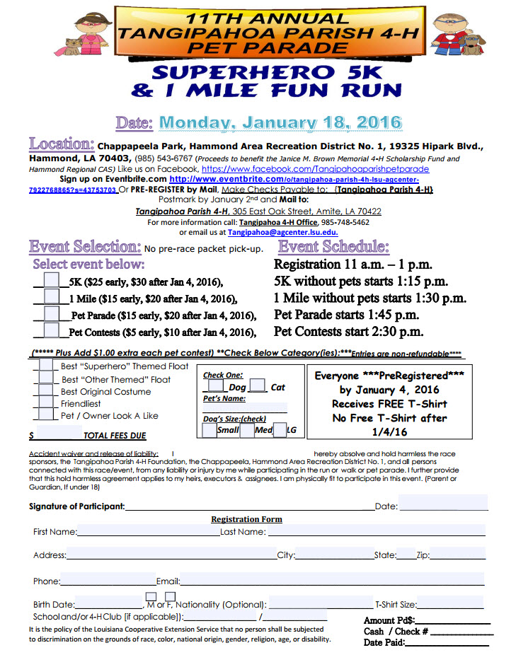 11th Annual Tangipahoa 4-H Pet Parade /Family Fun Fest /5K / 1 mile Run