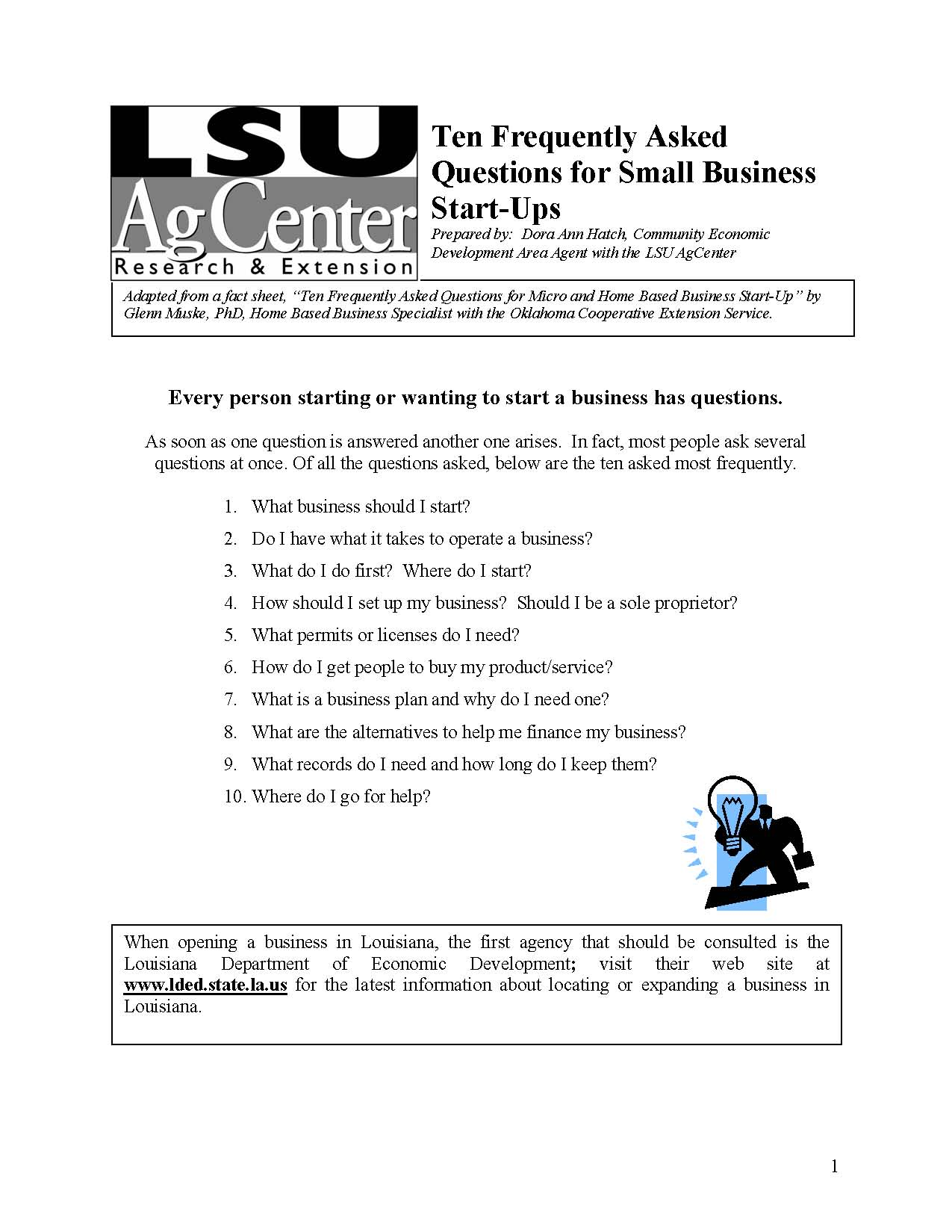 Ten Frequently Asked Questions for Small Business Start-Ups