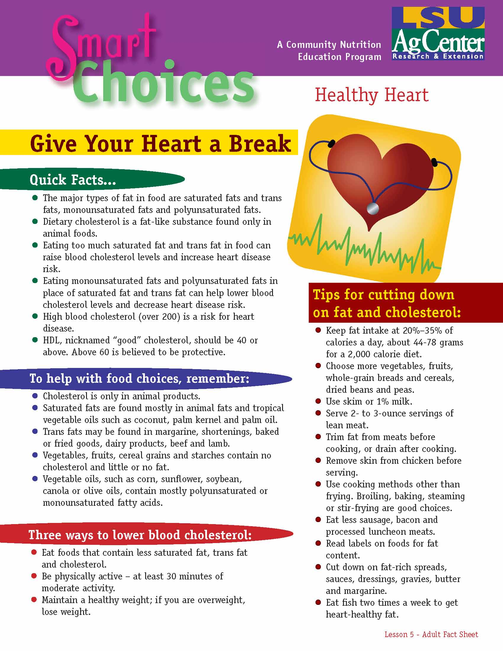 Smart Choices:  Give Your Heart a Break