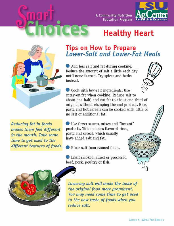 Smart Choices:  Tips on How to Prepare Lower-Salt and Lower-Fat Meals