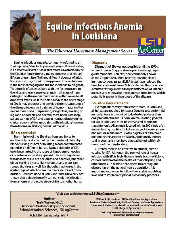 Equine Infectious Anemia in Louisiana