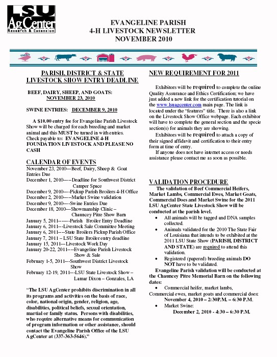 Evangeline 4-H Livestock Newsletter - November 2010