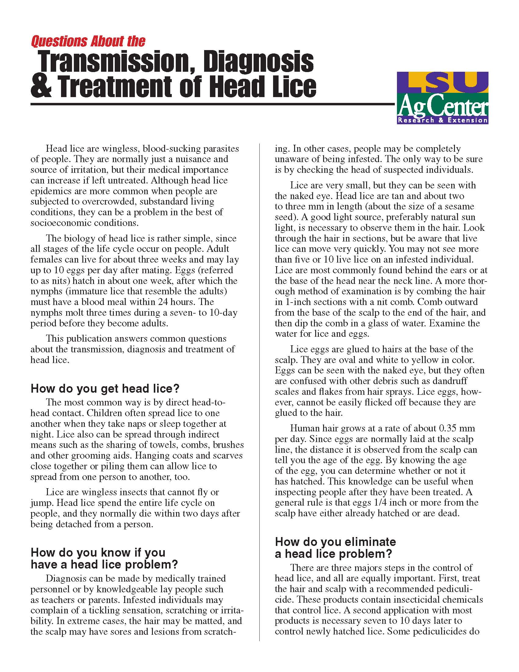 Questions about the Transmission Diagnosis and Treatment of Head Lice