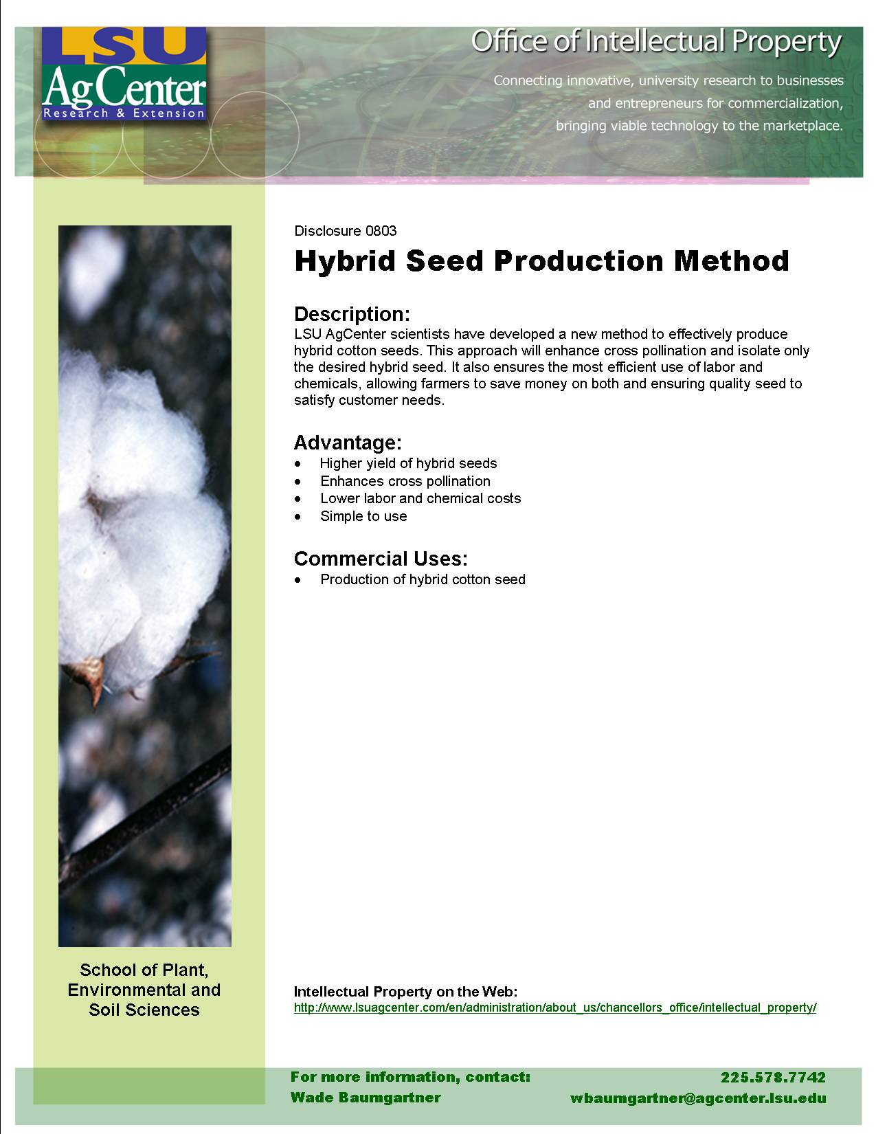 Novel Method for the Production of Cotton Hybrid Seed