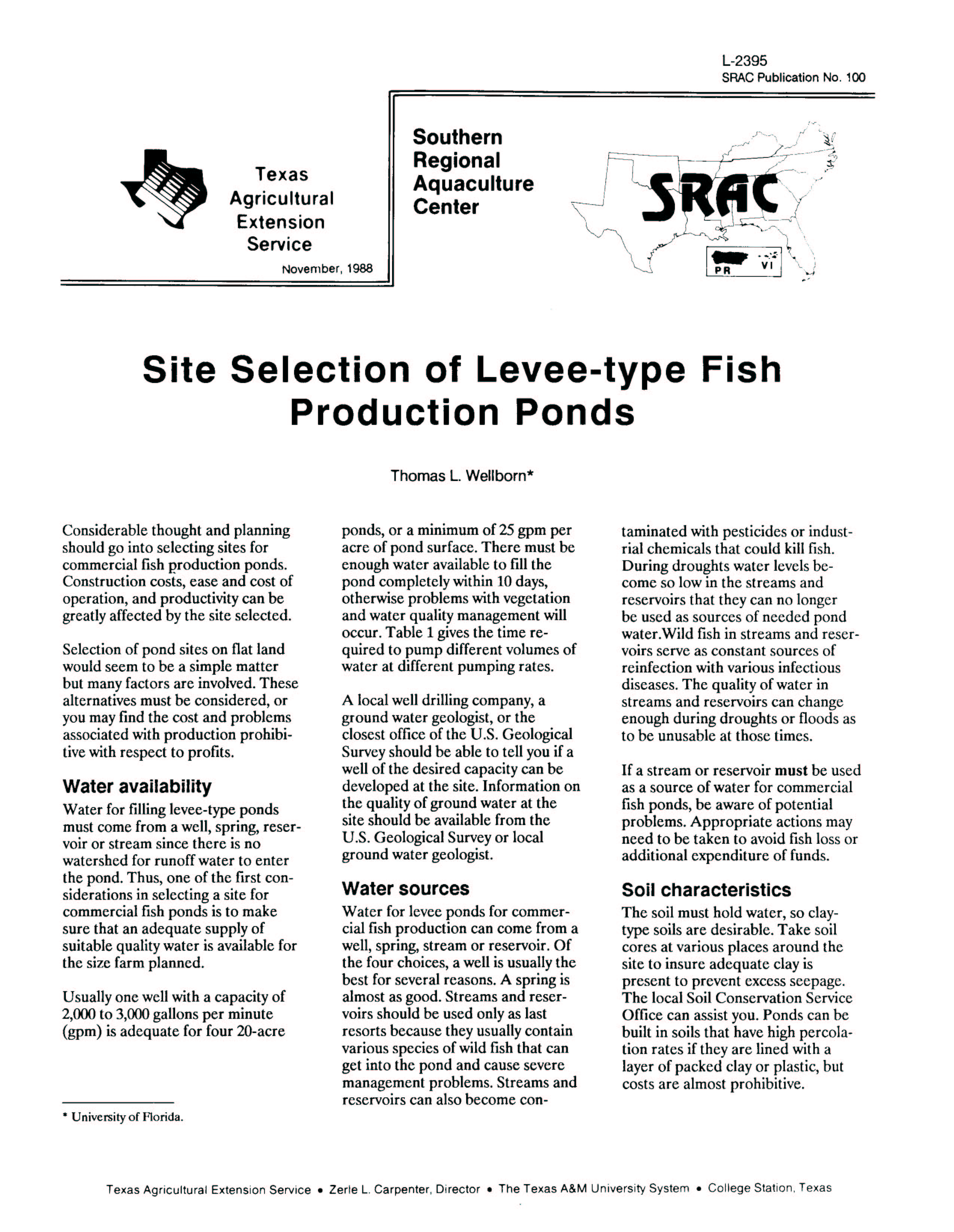 Site Selection of Levee-Type Fish Production Ponds