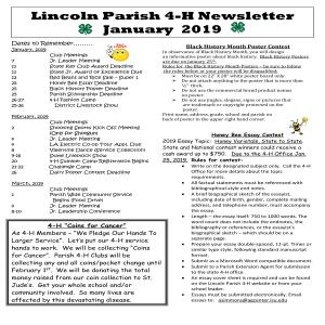 Lincoln Parish 4-H Newsletter January 2019