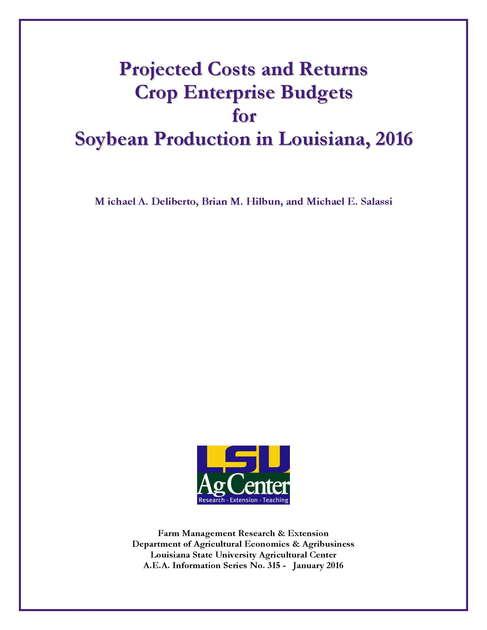 2016 Soybean Budgets