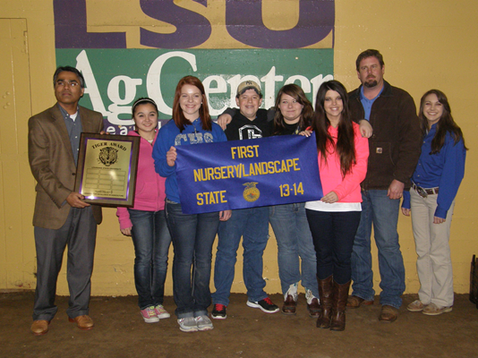 Calvin High School student win the Tiger Award in Nursery/Landscape.