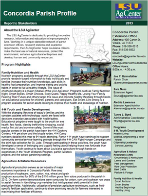Please click on the image to view the PDF version of the 2013 Concordia Parish Profile.