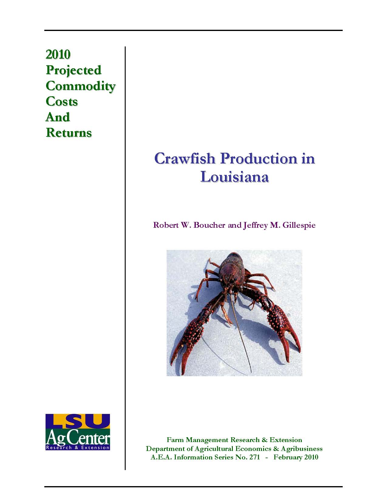 Projected Costs and Returns for Crawfish Production in Louisiana 2010