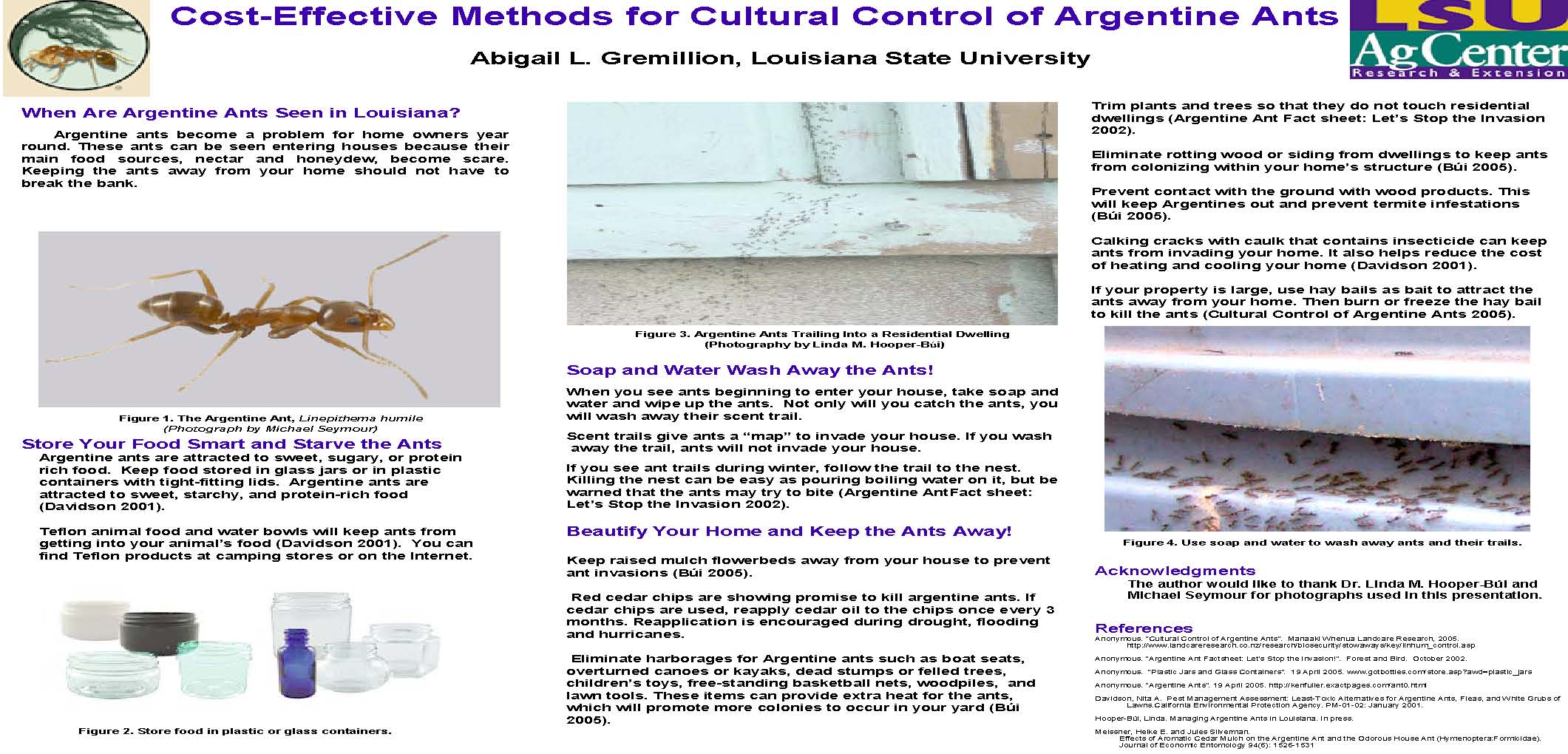 Cost-Effective Methods for Cultural Control of Argentine Ants