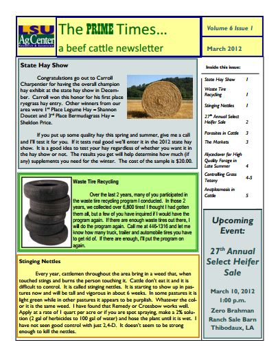 March 2012 The Prime Times...a beef cattle newsletter