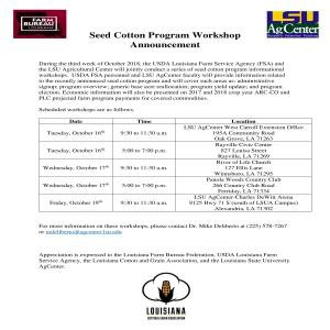 Seed Cotton Program Workshop Schedule