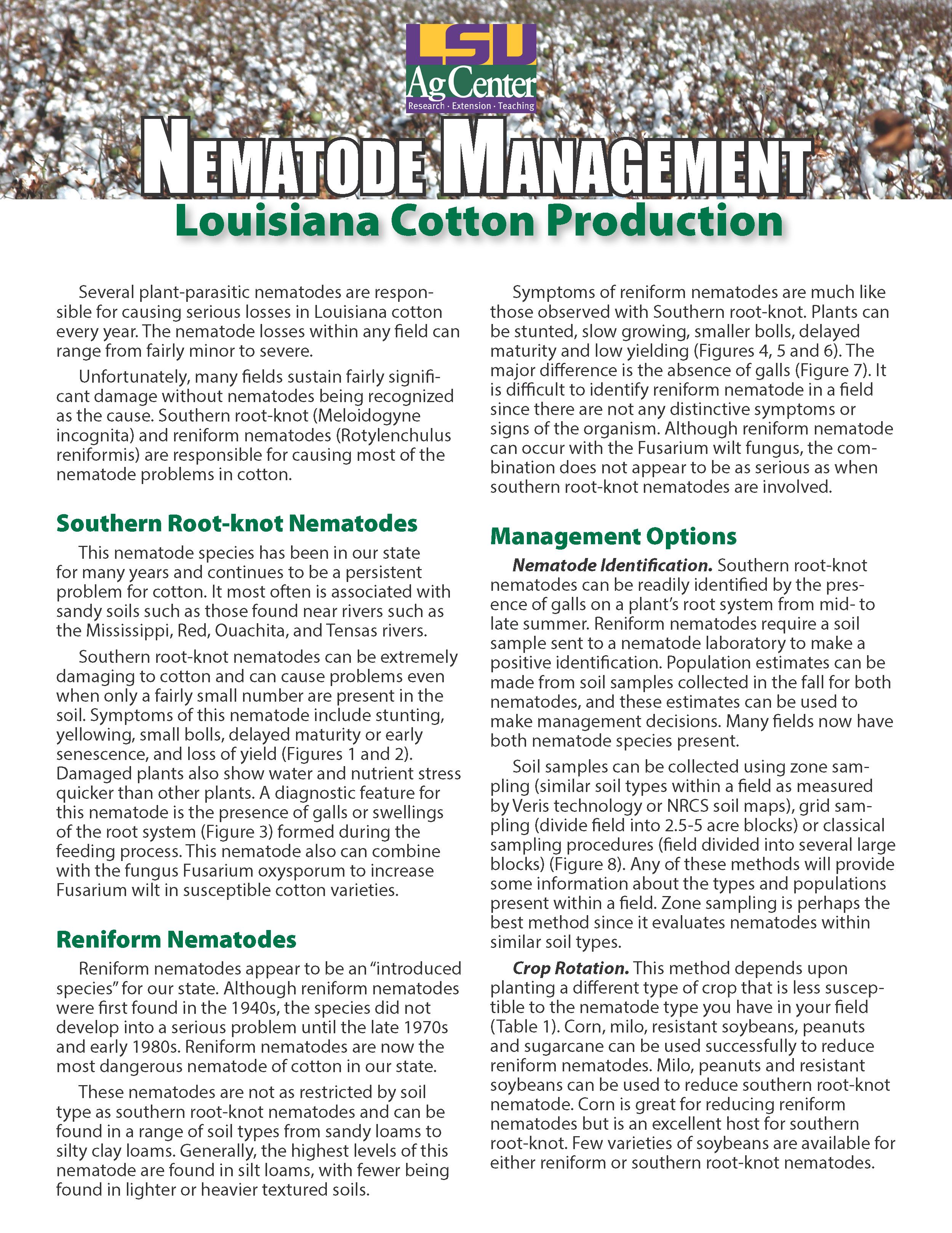 Nematode Management in Louisiana Cotton Production