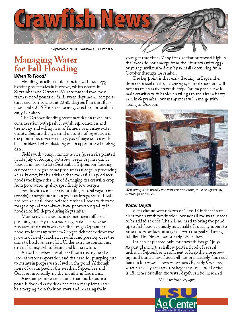 Crawfish News September 2010 (Vol 3, No 6)