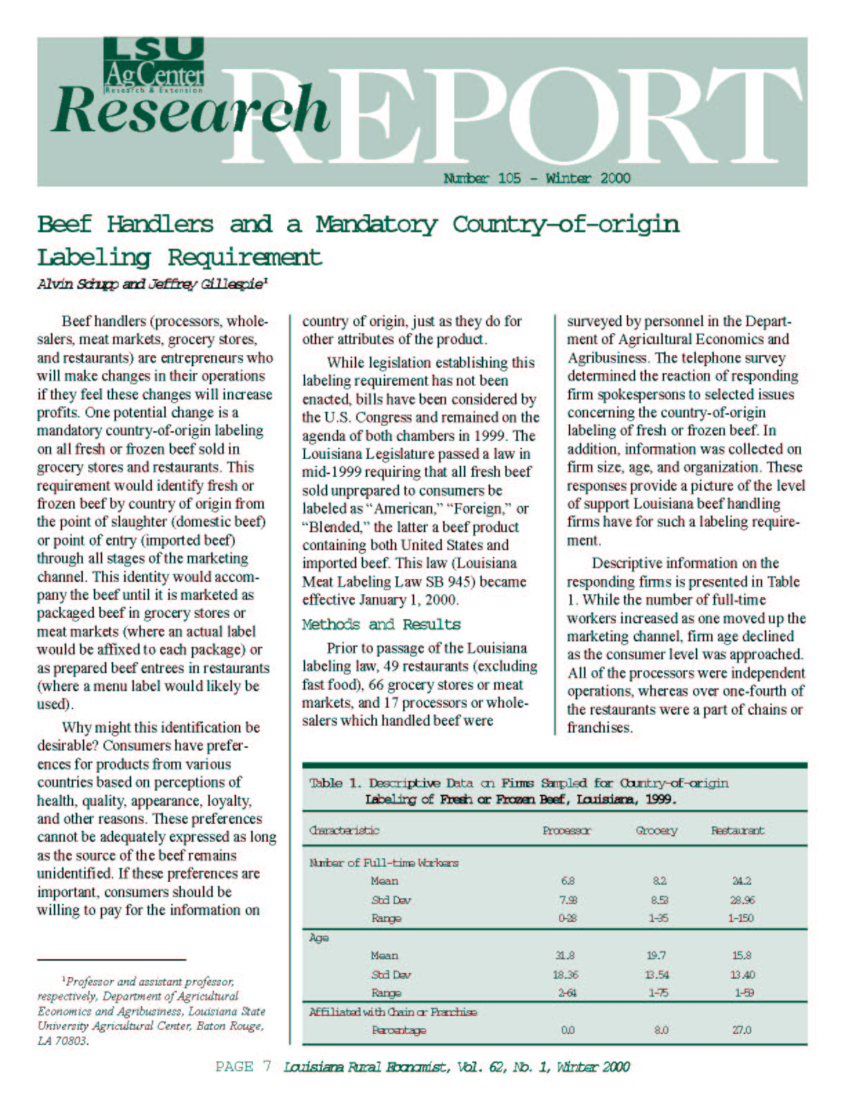 Beef Handlers and a Mandatory Country-of-origin Labeling Requirement (Winter 2000)