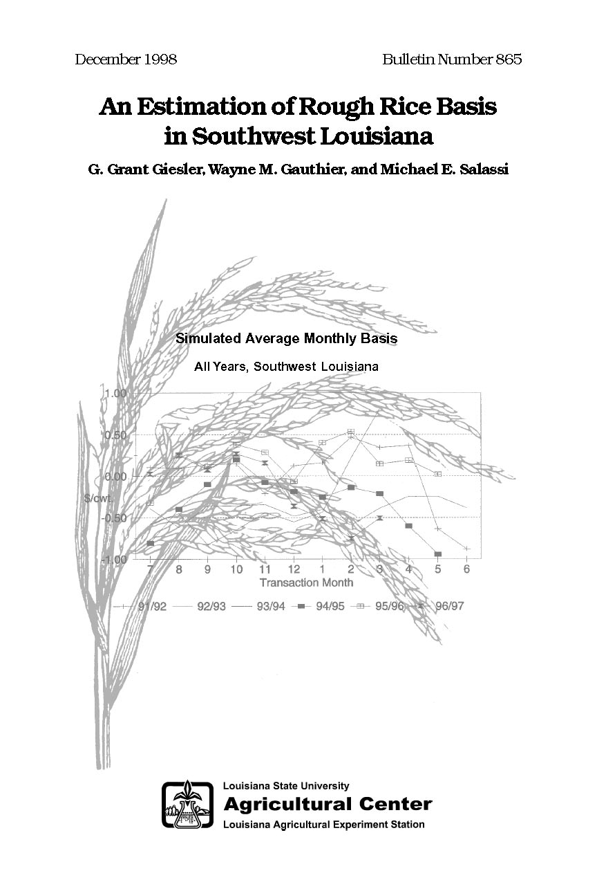 An Estimation of Rough Rice Basis in Southwest Louisiana (1998)
