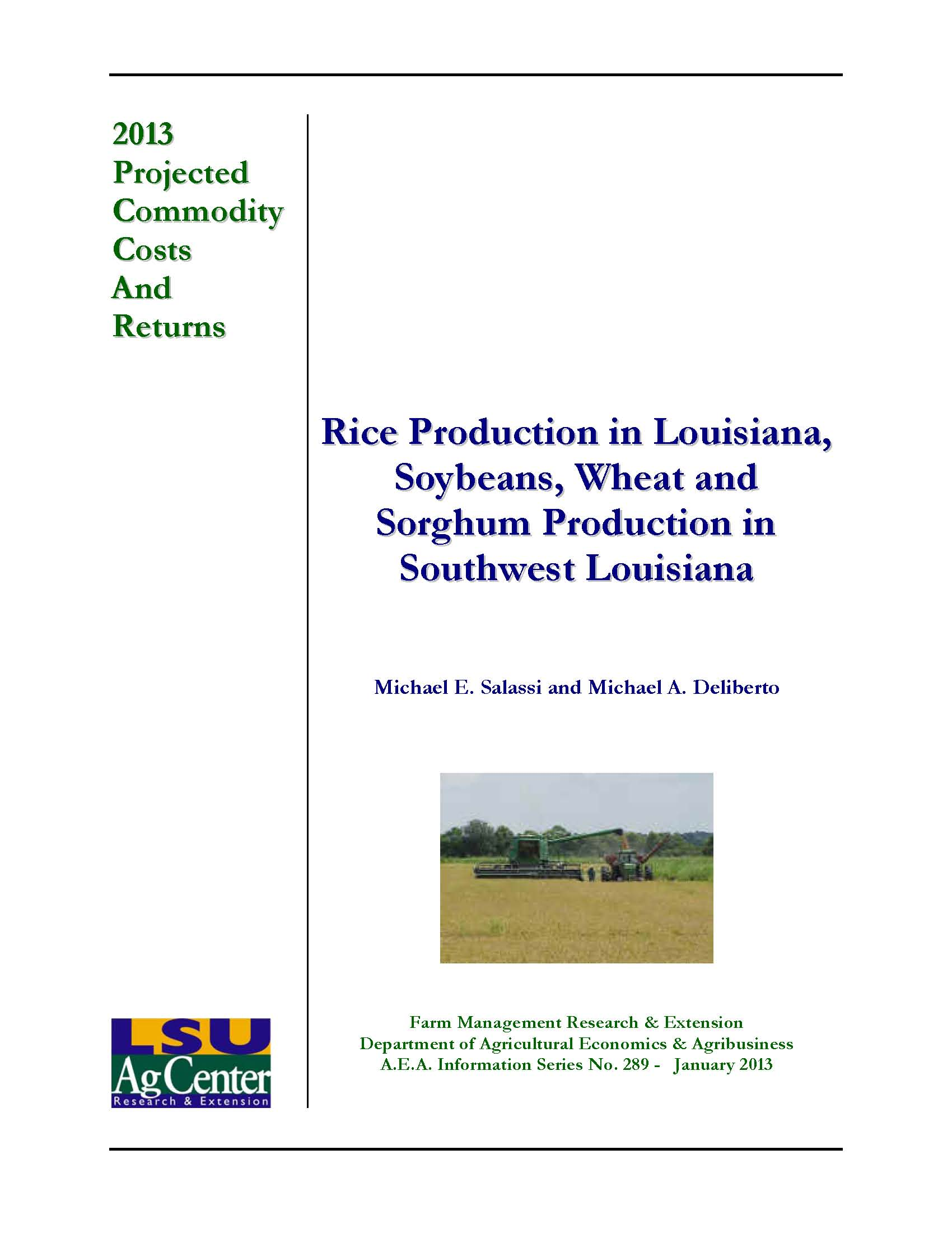 2013 Projected Louisiana Rice Production Costs