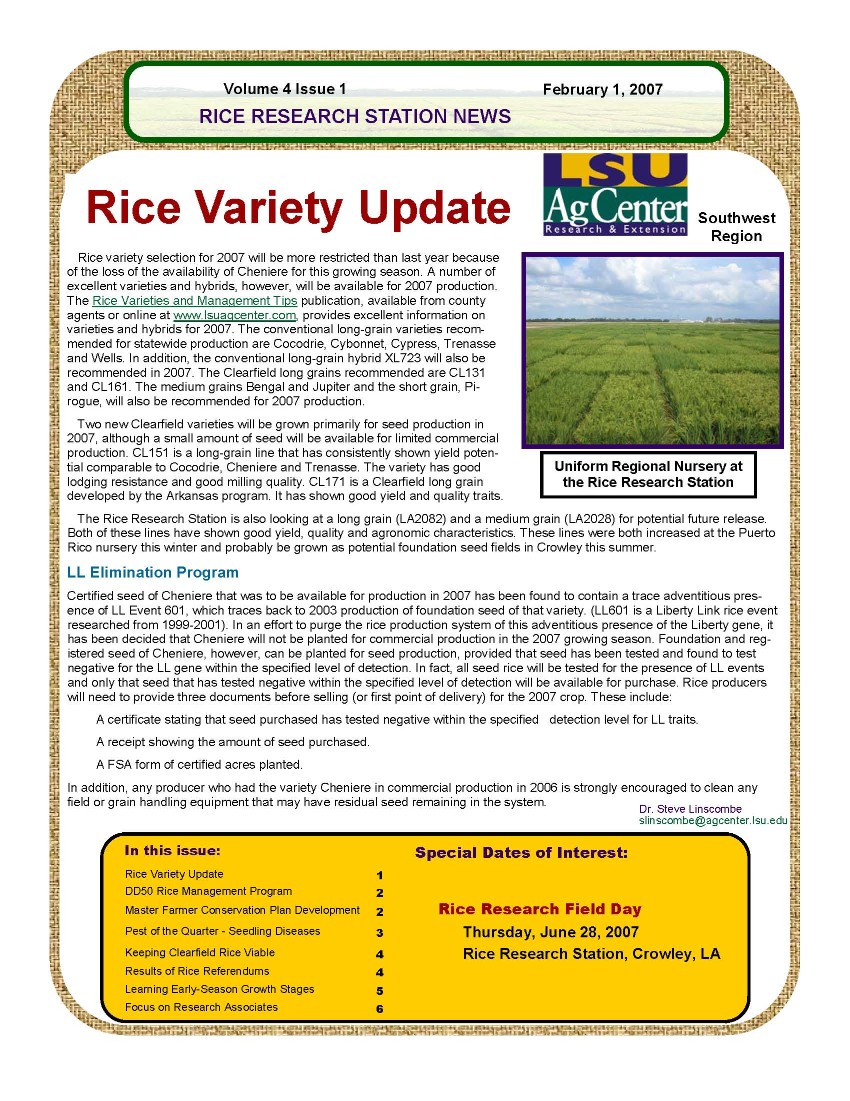 2007 Rice Research Newsletters
