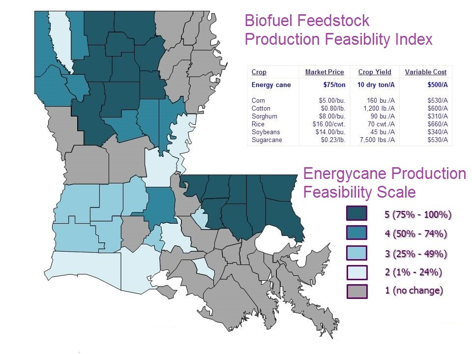 Louisiana map showing biofuel production feasibility index by parish.