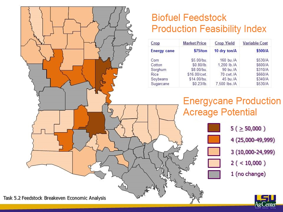 Map showing potential acreage for growing energycane in Louisiana.