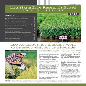 Louisiana Rice Research Board Annual Report 2019