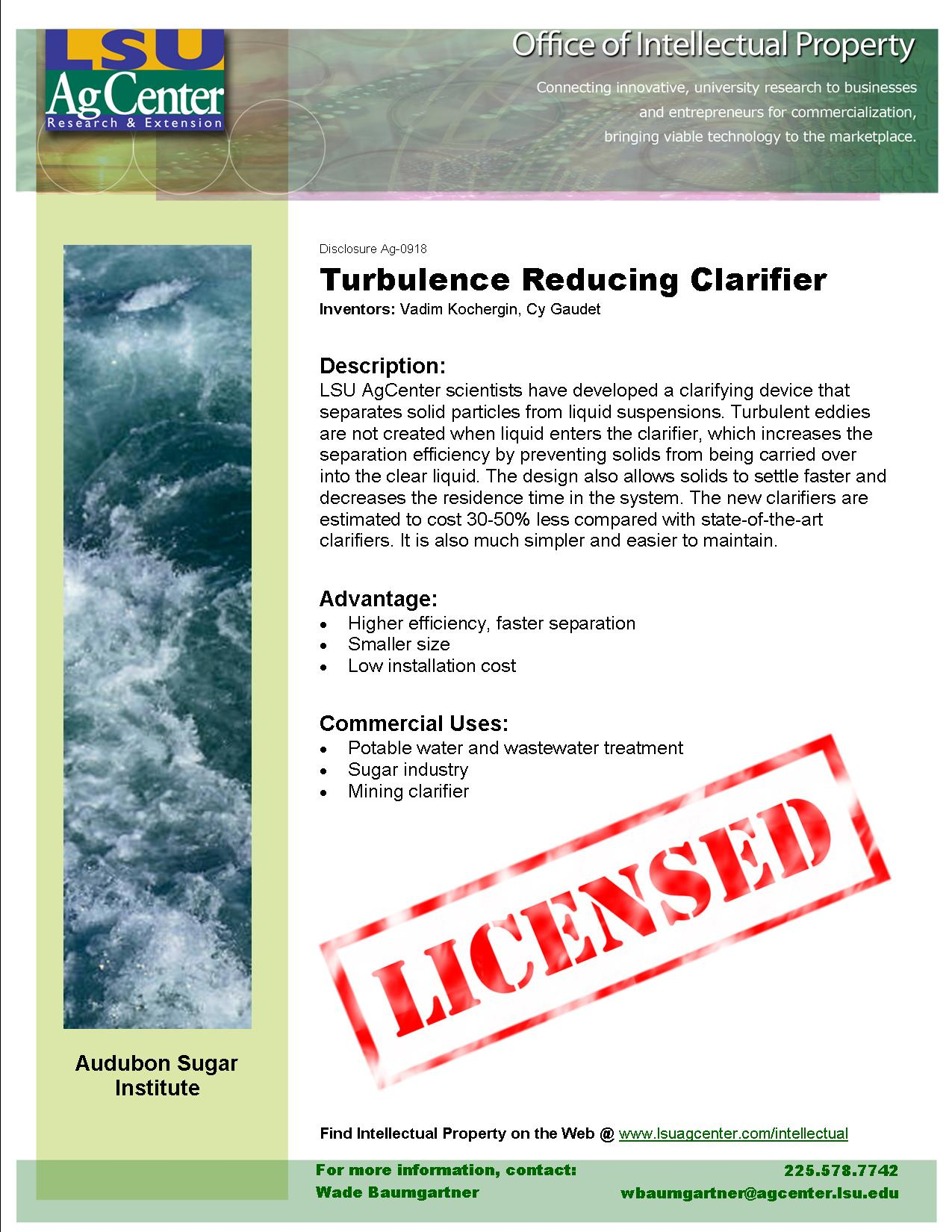 Turbulence-reducing Clarifier