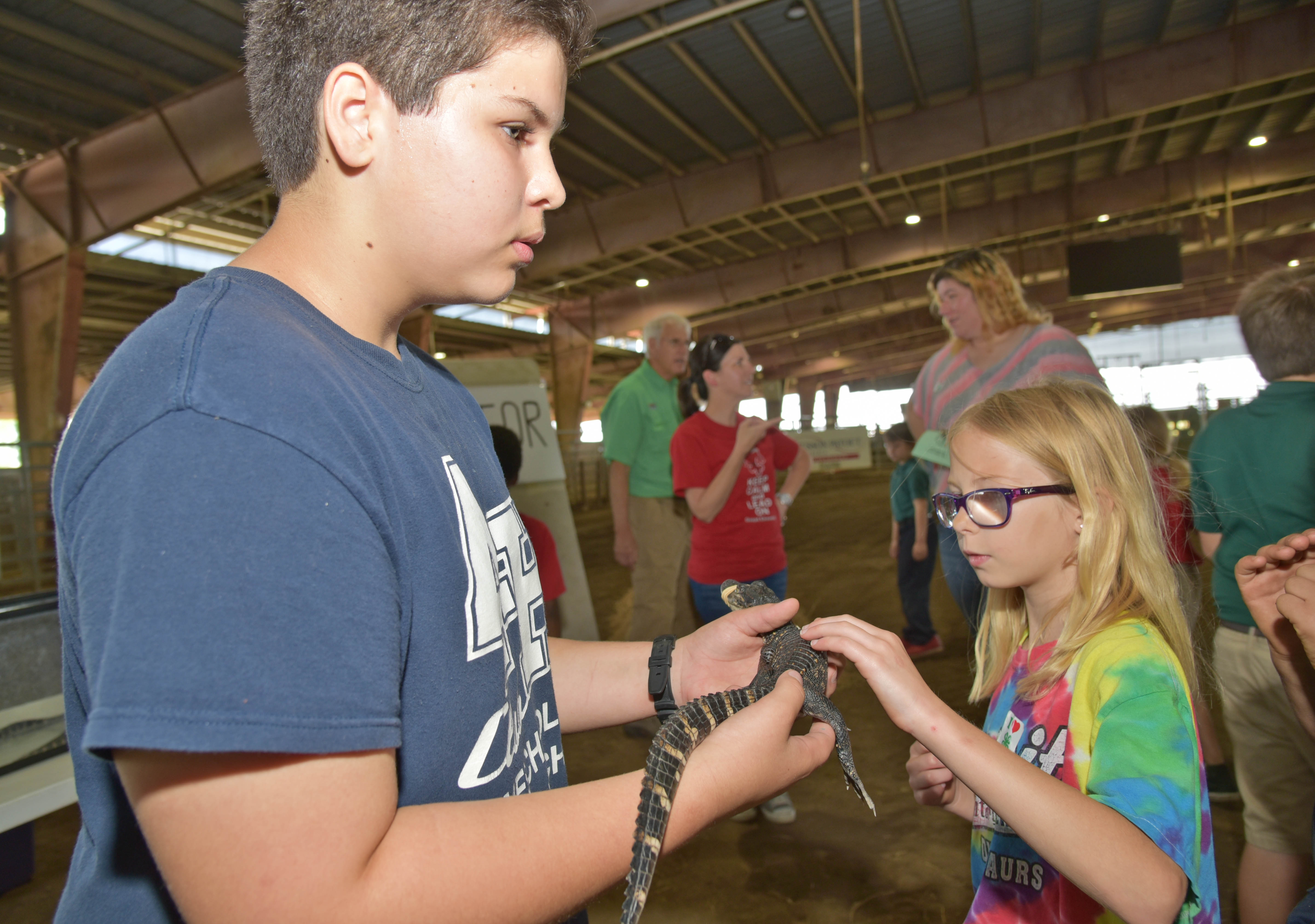 Madison RIchard touches a gator held by Joseph Phillips.jpg thumbnail