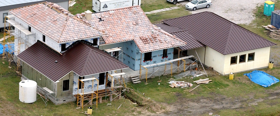 Photo of aerial view of rear of LaHouse.