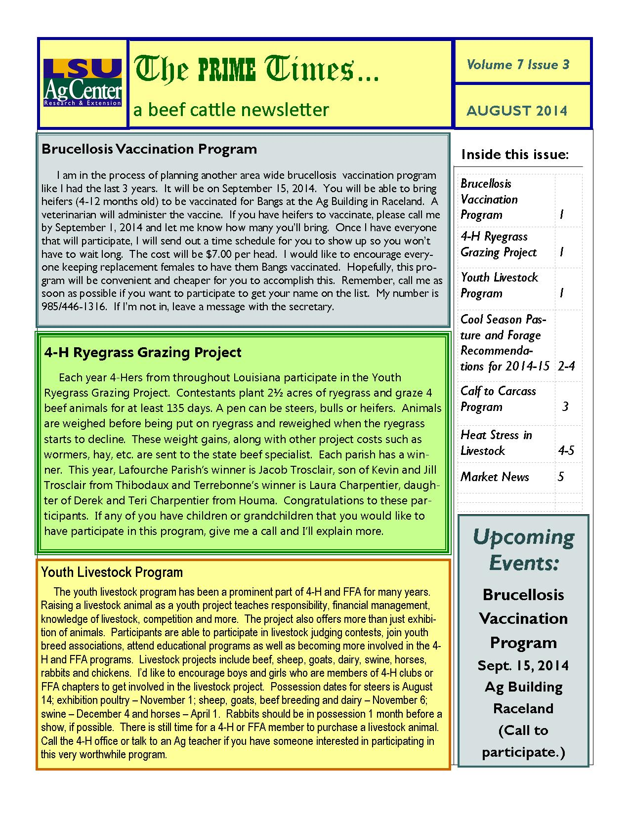 August 2014 Beef Cattle Newsletter