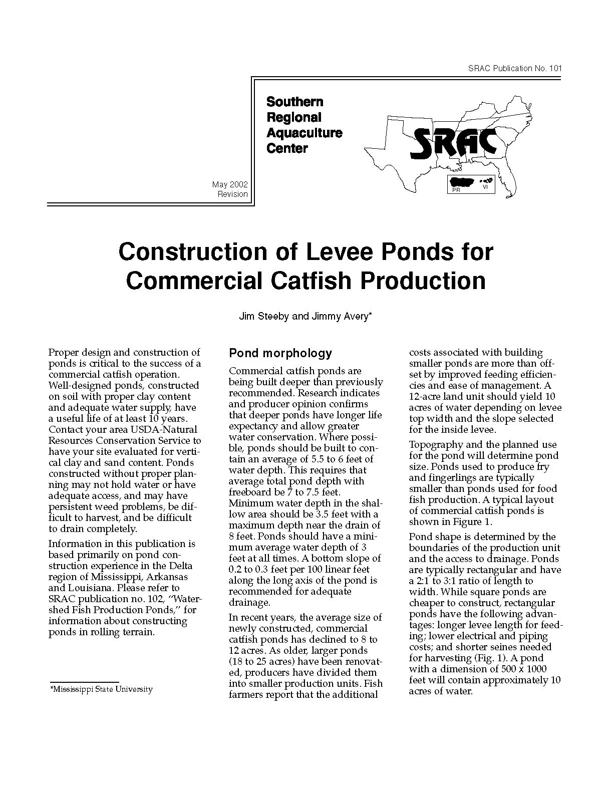 Construction of Levee Ponds for Commercial Catfish Production