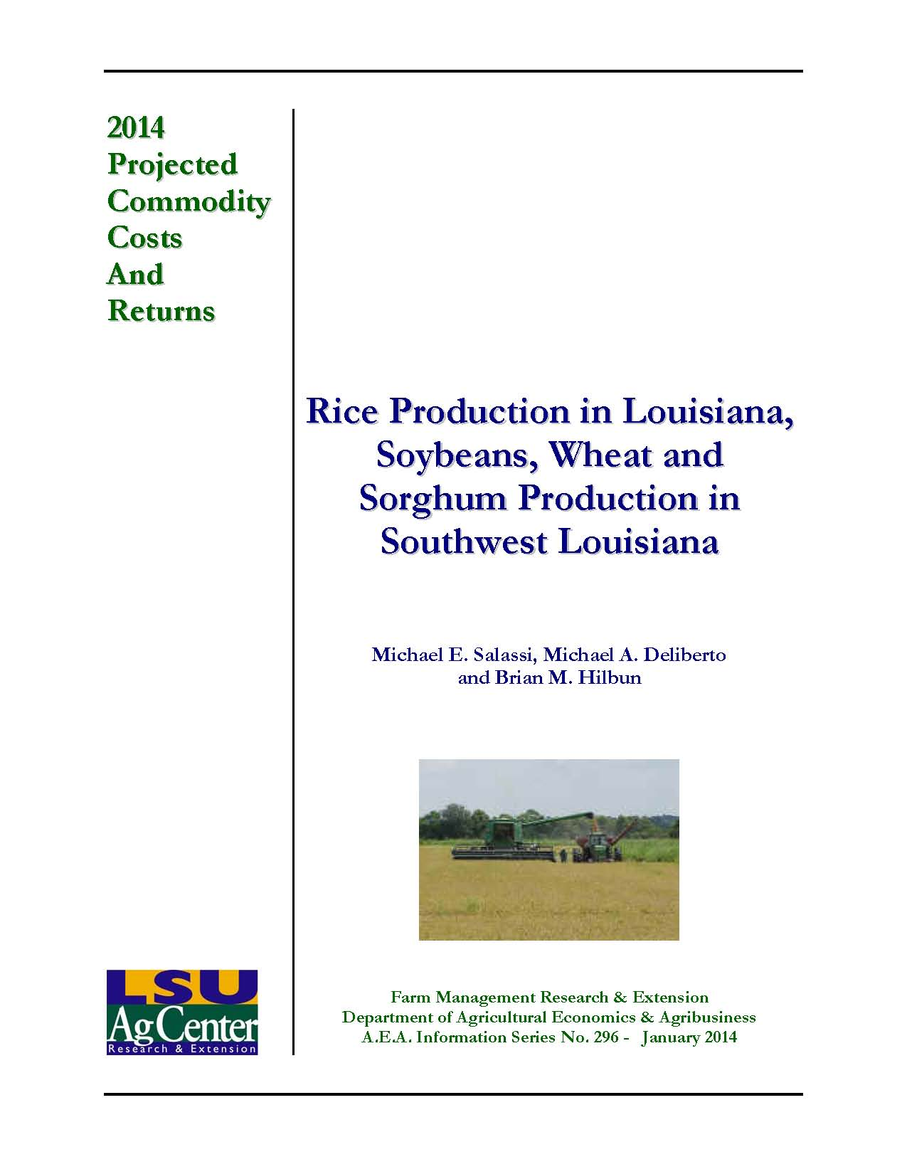 2014 Projected Rice Production Costs