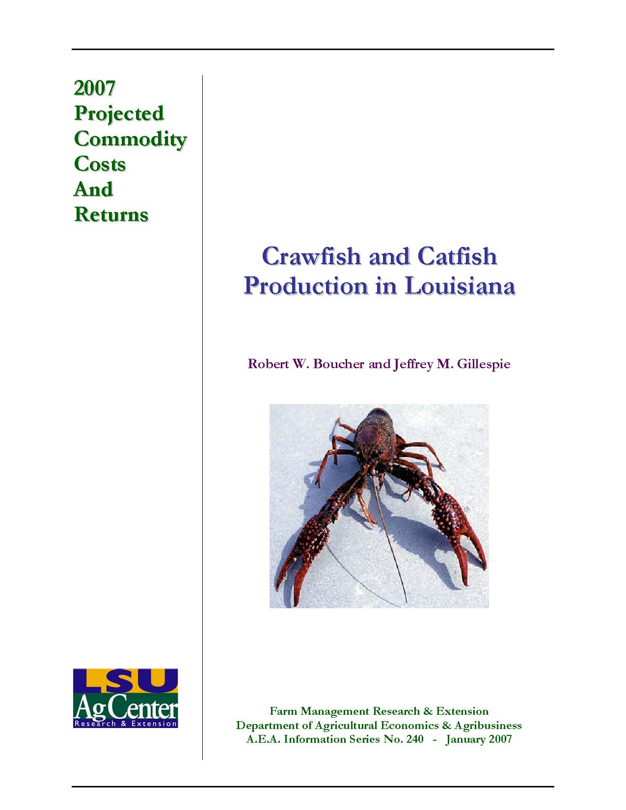 2007 Projected Louisiana Crawfish and Catfish Production Costs