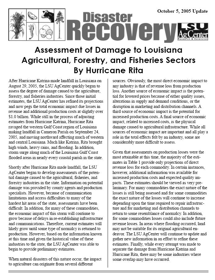 Disaster Recovery: Assessment of Agricultural Damage Caused by Hurricane Rita