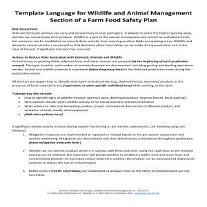 Sample forms for the wildlife and animal management for Wildlife management plan template