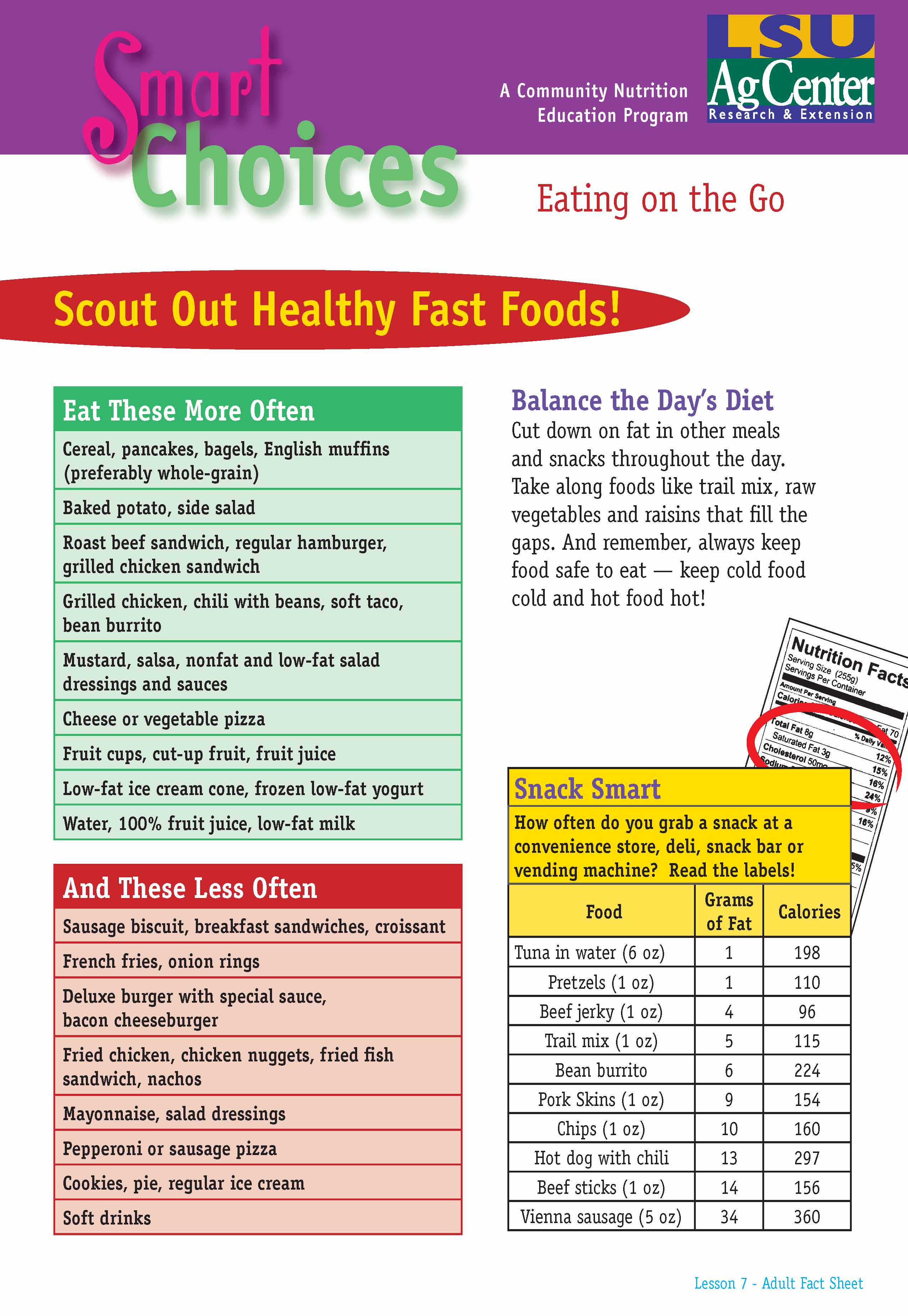 Smart Choices:  Scout Out Healthy Fast Foods