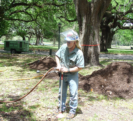 Arborist Dave Leonard uses and air knife to remedy soil compaction under a live oak tree in New Orle