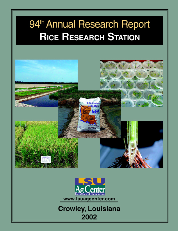 2002 Annual Research Report Rice Research Station