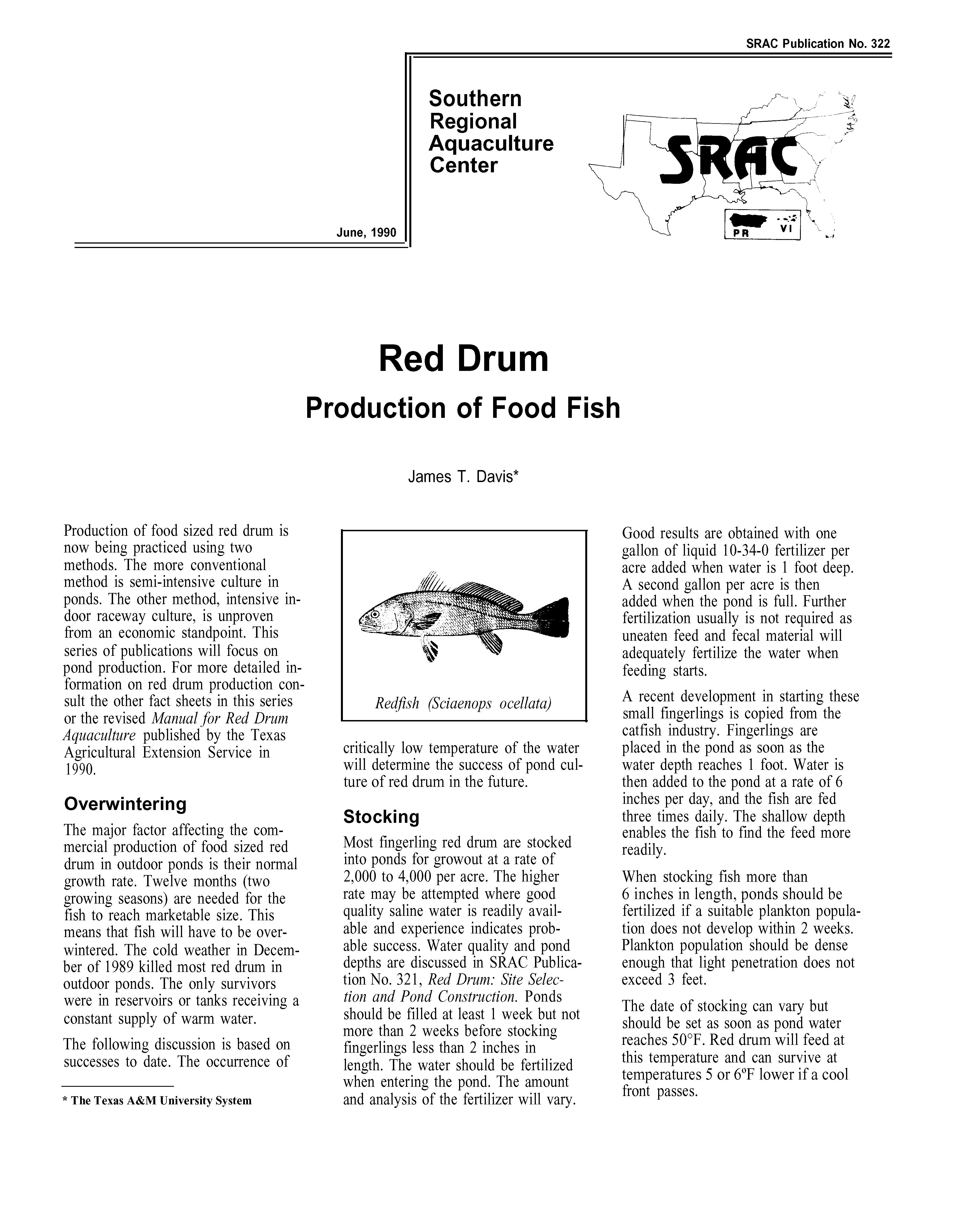 Red Drum: Production of Food Fish